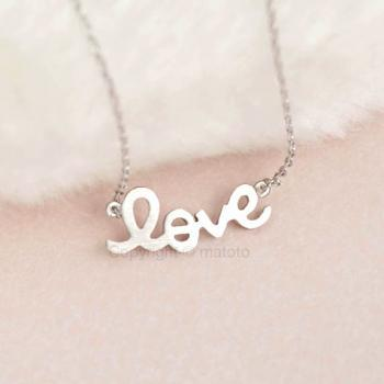 Silver Sideways LOVE Necklace, Friendship Love Charm, Minimalist