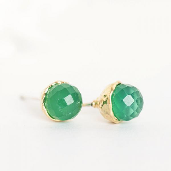 Gold Vermeil Green Onyx Stud Earrings, Sterling Silver Ear Posts, Wedding Bridesmaid Jewelry