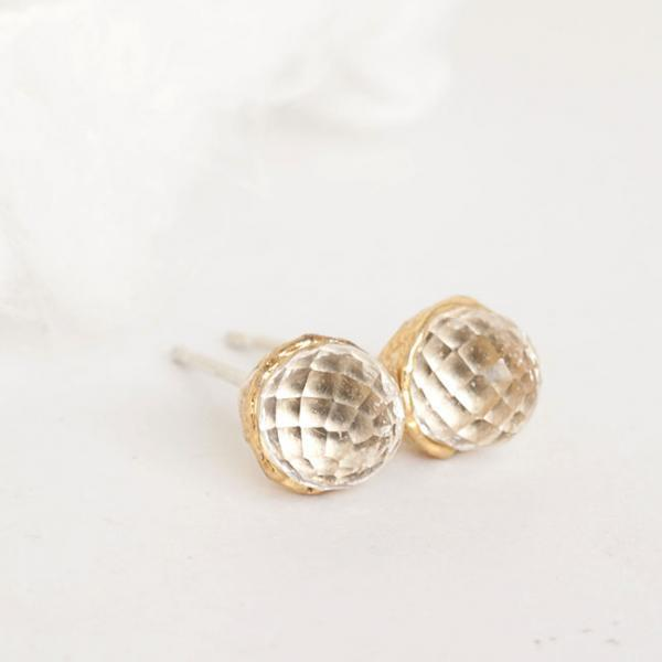 Gold Vermeil Clear Quartz Stud Earrings, Sterling Silver Ear Posts, Wedding Bridesmaid Jewelry