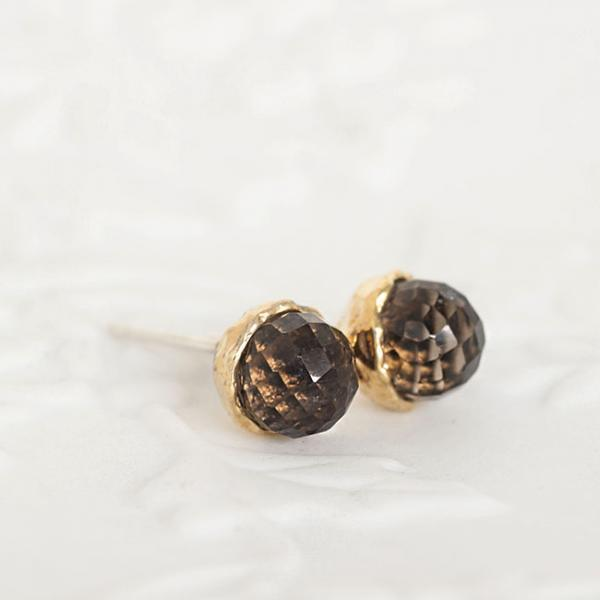 Gold Vermeil Faceted Smoky Quartz Stud Earrings, Sterling Silver Ear Posts, Wedding Bridesmaid Jewelry
