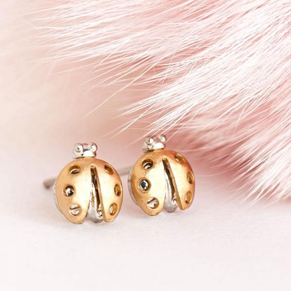 Gold Plated Lady Beetle Stud Earrings, Ladybug Jewellery