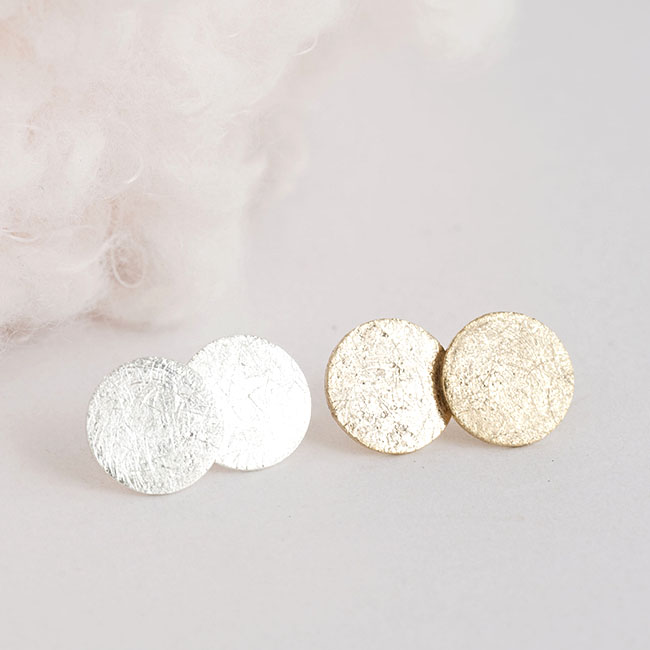 Tiny Textured Round Disc Stud Earrings Gold Or Silver Minimalist Geometric Inspired